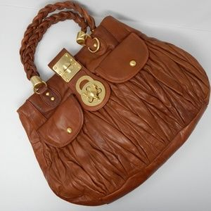 Saddle Brown Leather Handbag Turnlock Closure